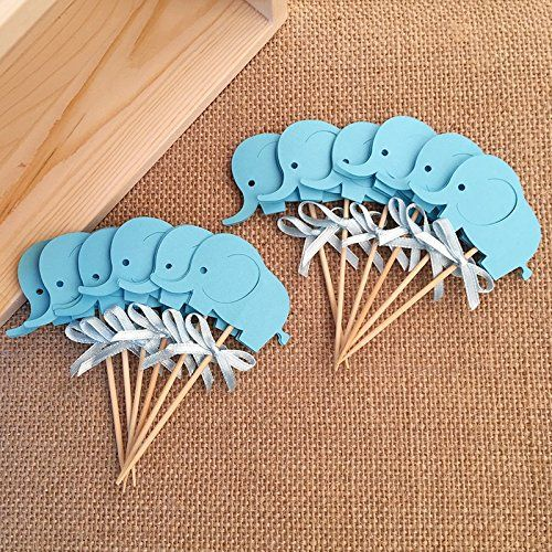 Amazon.com: Birthday Decorations,double Sided Blue Elephants Cupcake  Toppers, Baby