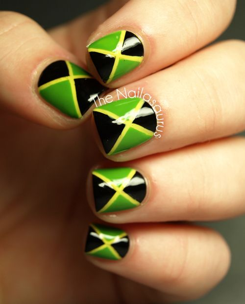 31DC2012 Day 28: Inspired by a Flag... Jamaica | Uk nails, Nail art ...