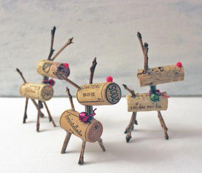 DIY Cork Reindeer Decorations
