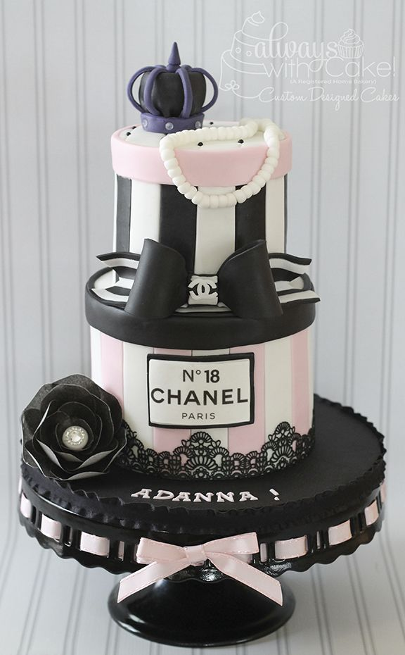 Phenomenal Pink White And Black Chanel Inspired Cake Cake Birthday Cards Printable Trancafe Filternl