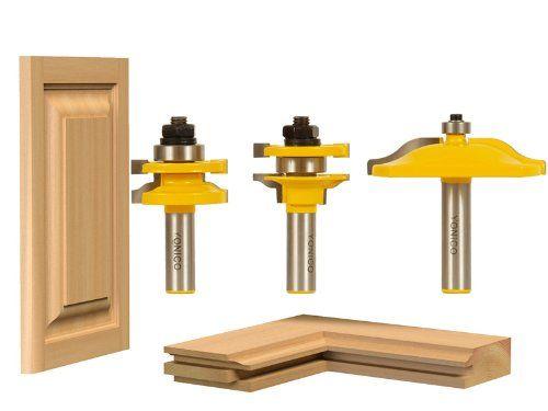 3 Pcs Raised Panel Cabinet Door Router Bit Set w// 3 Bit Ogee 1//2-Inch Shank US