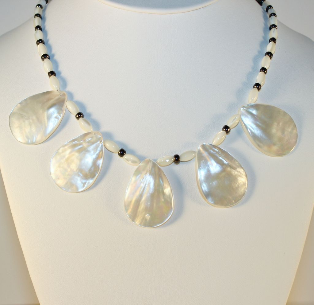 Artisan Teardrop Mother of Pearl Pendant Beads, Black Seed Beads and Sterling Necklace....Handcrafted by Kaminski Jewelry Designs