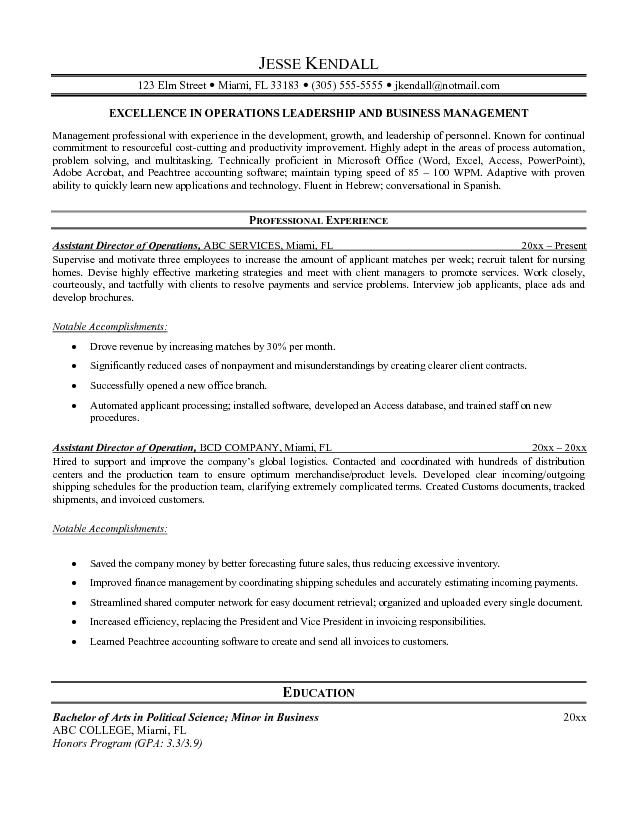 Amazing Assistant Director Operations Manager Resume Development