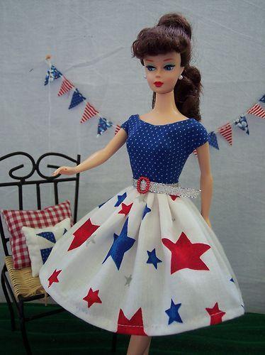 Handmade Vintage Barbie Doll Clothes By Brenda Red White Blue Star Dress Barbie Dress Pattern Vintage Barbie Barbie Dolls