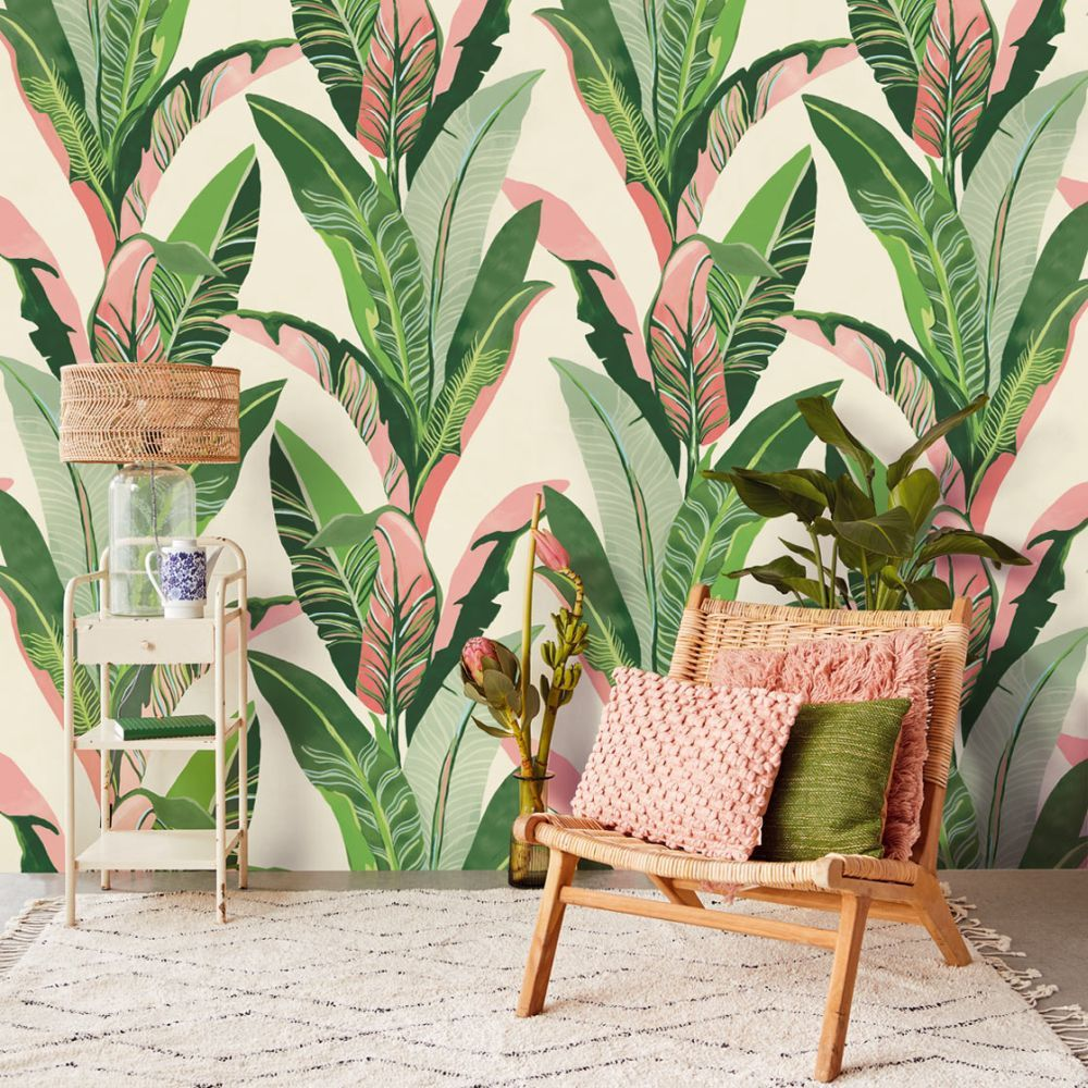 Jungle Palm Mural by Eijffinger - Green & Pink : Wallpaper Direct