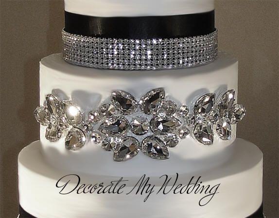 DECORATE MY WEDDING Rhinestone Crystal Cake Jewelry Cake Decor
