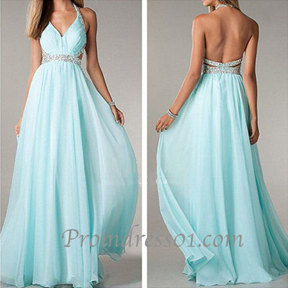 2015 elegant ice blue backless chiffon long prom dress, sparkly ...