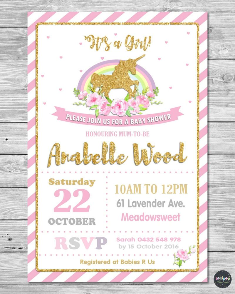 Unicorn Baby Shower Personalised Invitations Invite Card Pink Gold