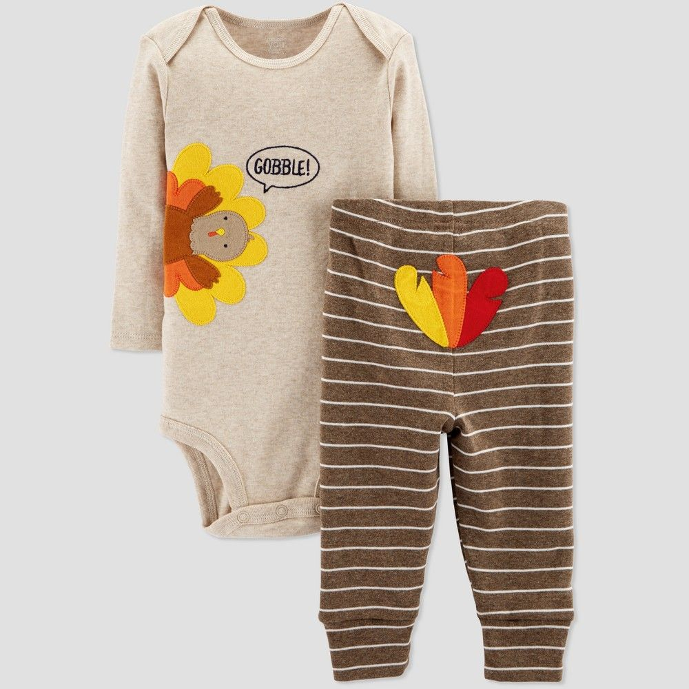 b6d118796 Babys' Thanksgiving 2pc Gobble Set - Just One You made by carter's Light  Brown 6M Gender: Unisex. Age Group: Infant. Pattern: Bird.