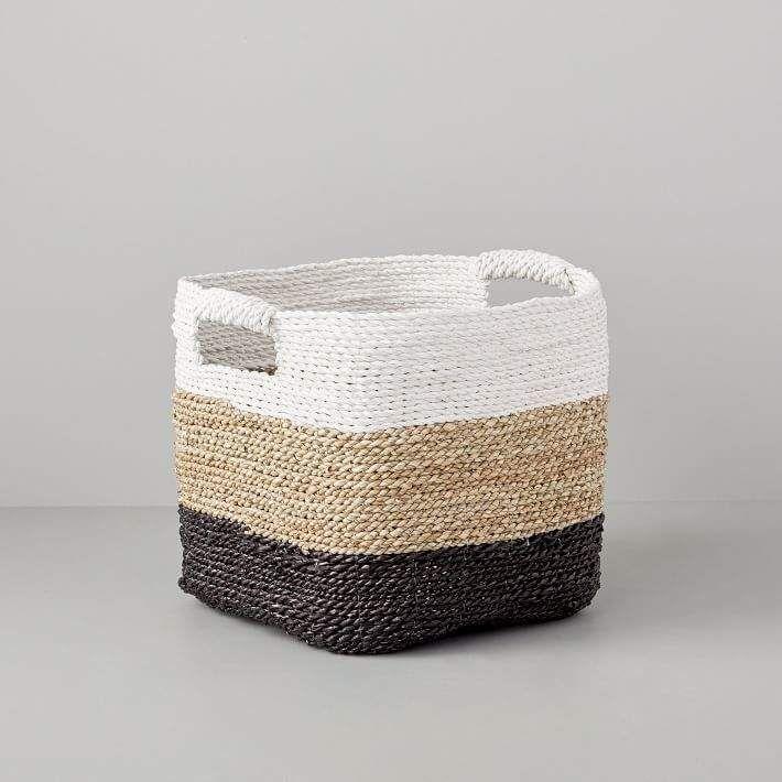 Tricolor Woven Storage Baskets