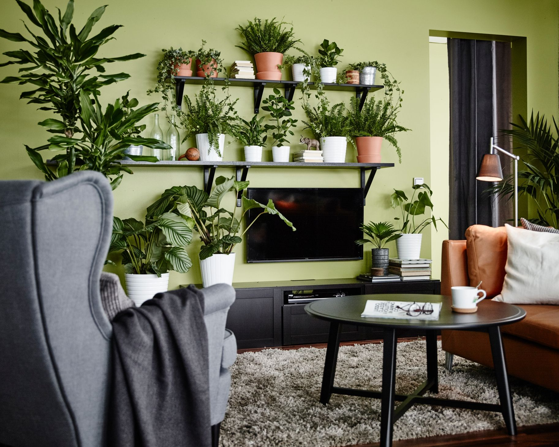 Strandmon oorfauteuil ikea ikeanl woonkamer groen planten stoel bank leer new home - Tapijten ikea hal ...