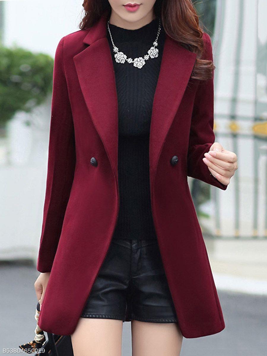 Solapa Bolsillo De Plastron Con Ojal Liso Berrylook Com Woolen Coat Coats For Women Fall Fashion Coats [ 1200 x 900 Pixel ]