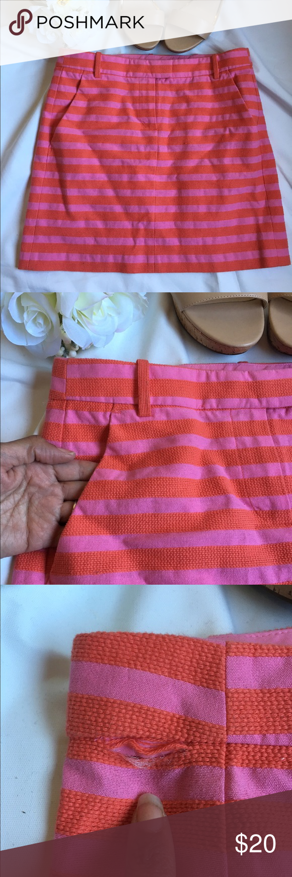 "J. Crew Mini Skirt with Pockets GUC:  Striped skirt with zipper closure, belt loops and pocket. Waist to bottom hem: 16"" Cosmetic Blemish: Tear at waist (pic 3) Questions: Ask away! *Other items pictured are available in my shop! ❤️ Always shipped the same or next day ❤️Pet Free/Smoke Free Environment 💞MAKE ME OFFERS J. Crew Skirts Mini"