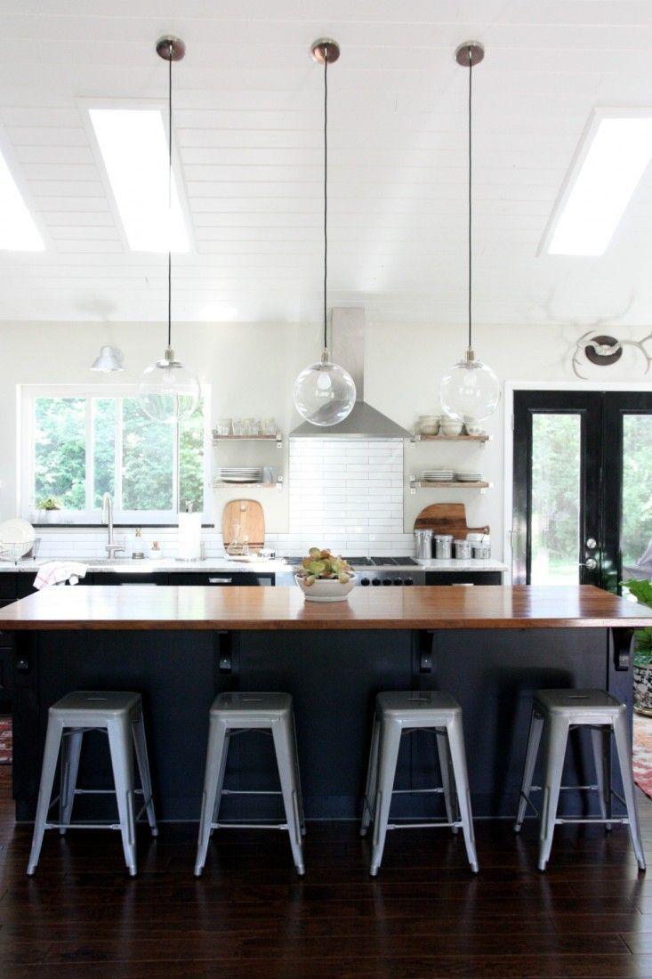Ikea kitchen cabinets black cabinets - House Tweaking Dana Miller S Kitchen Ikea Black Kitchen Cabinets Tolix Stools Remodelista