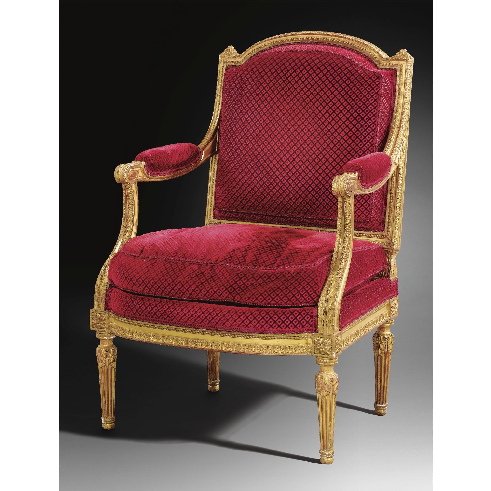 Sillon En Madera Dorada Del Periodo De Luis Xvi Atribuido A George Jacob Fauteuil Louis Xvi Mobilier De Salon