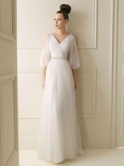 vestido de novia cuello v manga media | vestuario panderistas