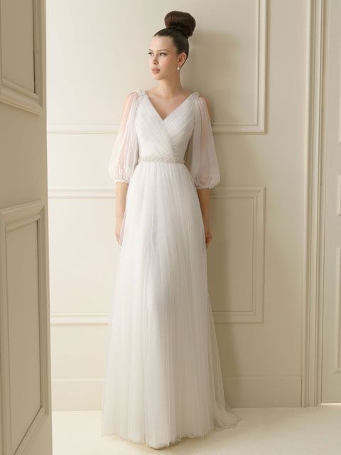 vestido de novia cuello v manga media | vestidos de novia | vestidos