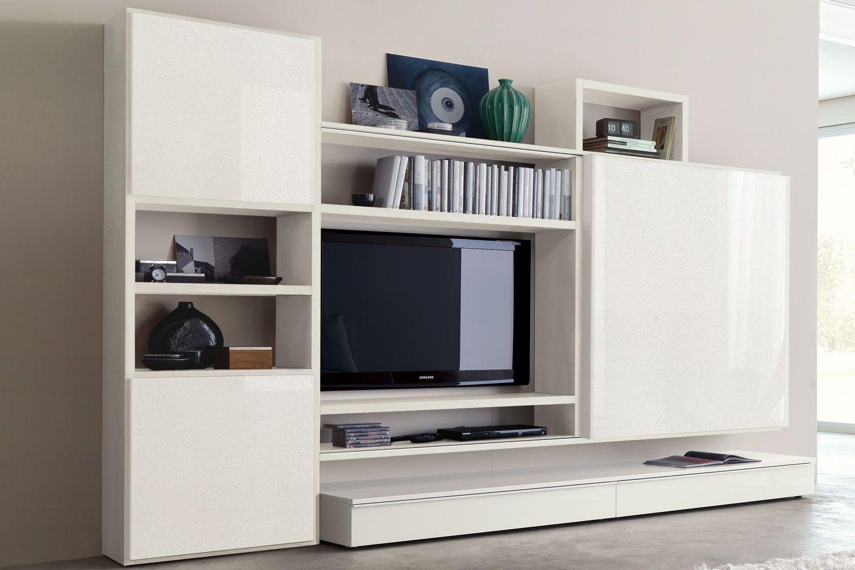 mobile per soggiorno moderno laccato bianco 560 con due