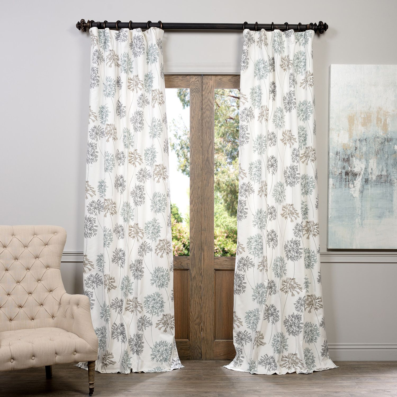 Allium Printed 100 Cotton Floral Rod Pocket Single Curtain Panel Half Price Drapes Printed Cotton Curtain Panel Curtains