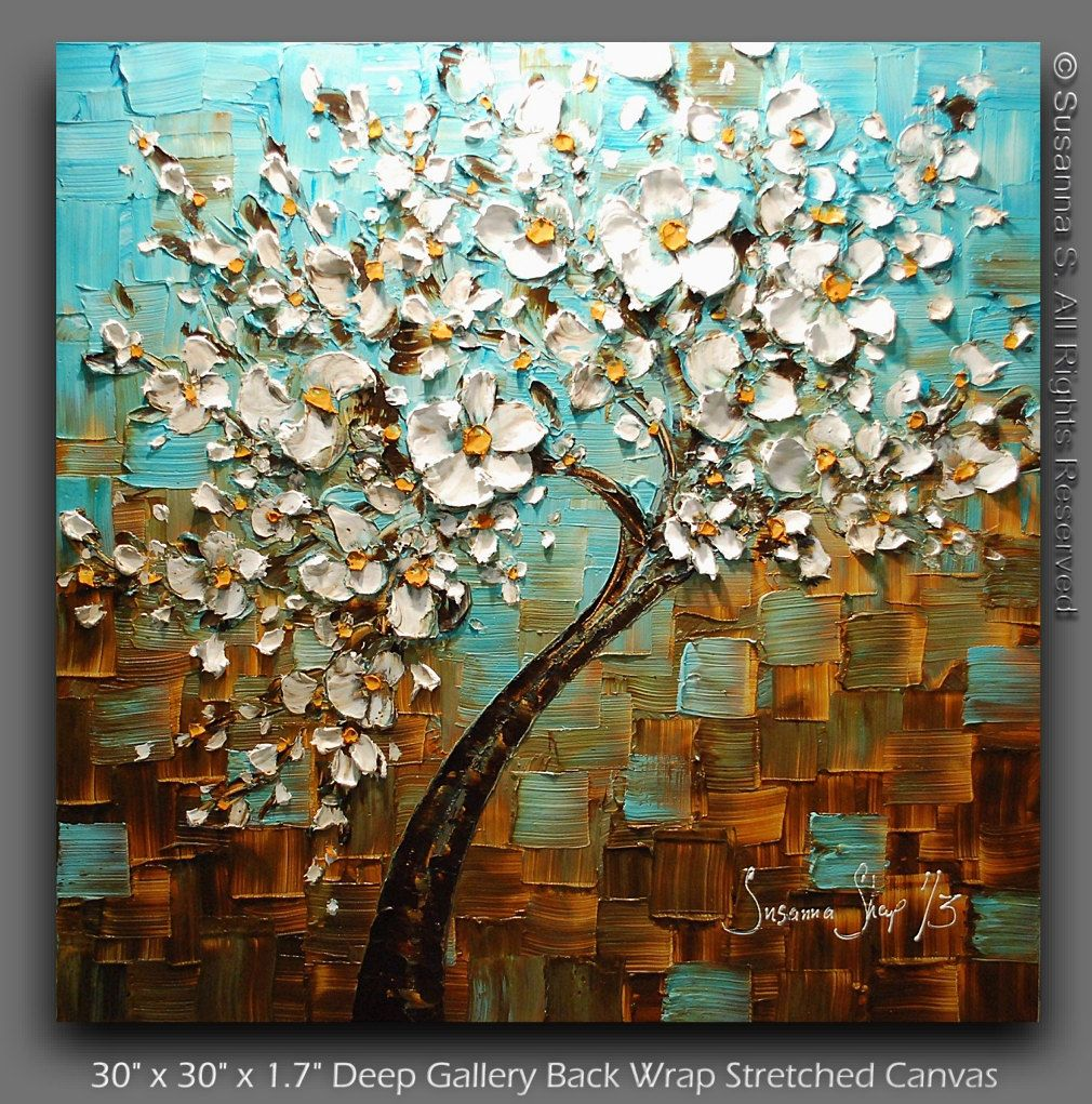 Original Large Tree Painting Abstract White Cherry Blossom Tree Oil Painting Thick Texture Blue Arte Abstracto De Pared Pinturas Abstractas Cuadros Modernos