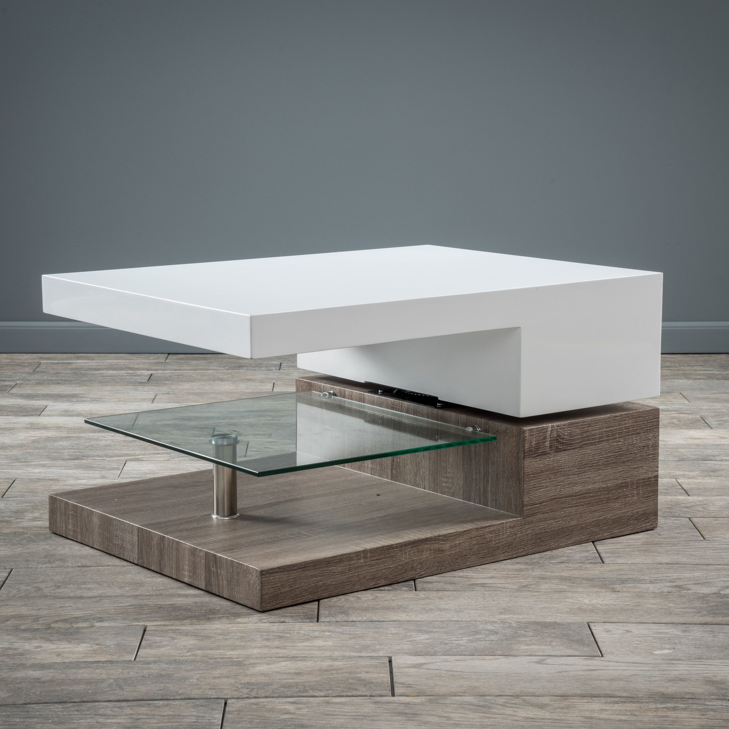 Small Rectangular Mod Coffee Table with Glass by Christopher