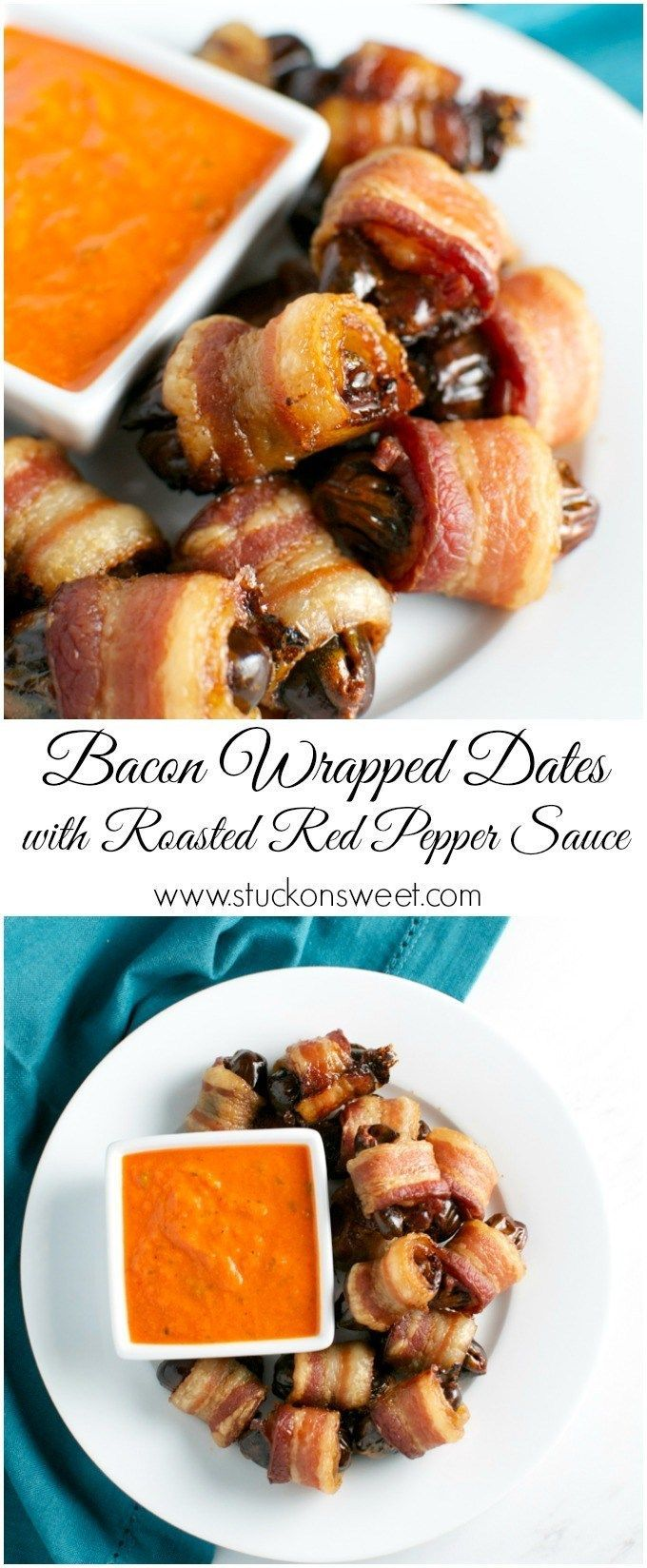 Bacon wrapped dates with roasted red pepper Dippin /
