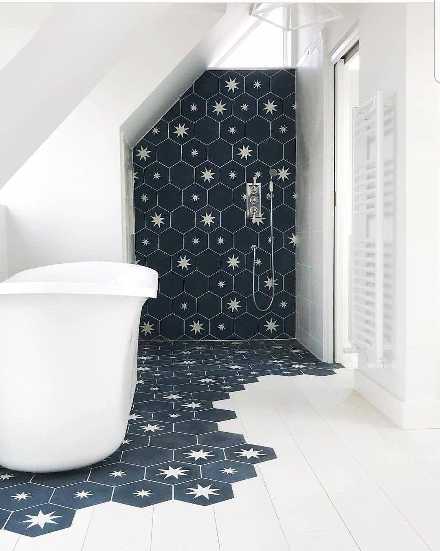 Explore Hexagonal Pattern Bathroom Tile Ideas On Pinterest See More Ideas About Bathroom Tile Ideas Showertileideas Masterbathroomideas Greybathr Badrum