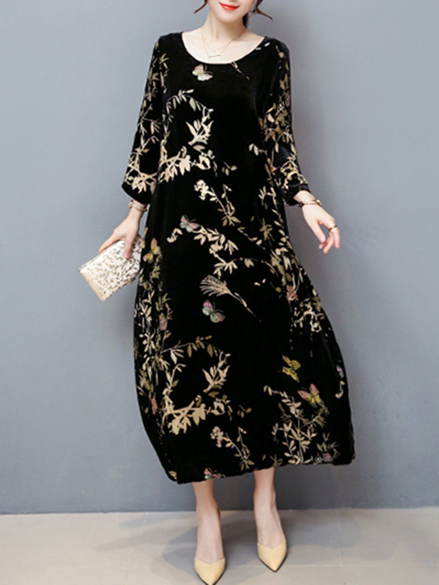 6ce77a2eb06 Popjulia Plus Size Black Crew Neck Shift Going out Dress Long Sleeve Cotton  Pockets Leaf Dress