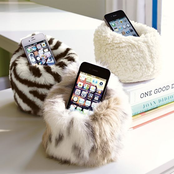 Fur Beanbag Cell Phone Holder | PBteen $15 i could also put my hamster in this :)