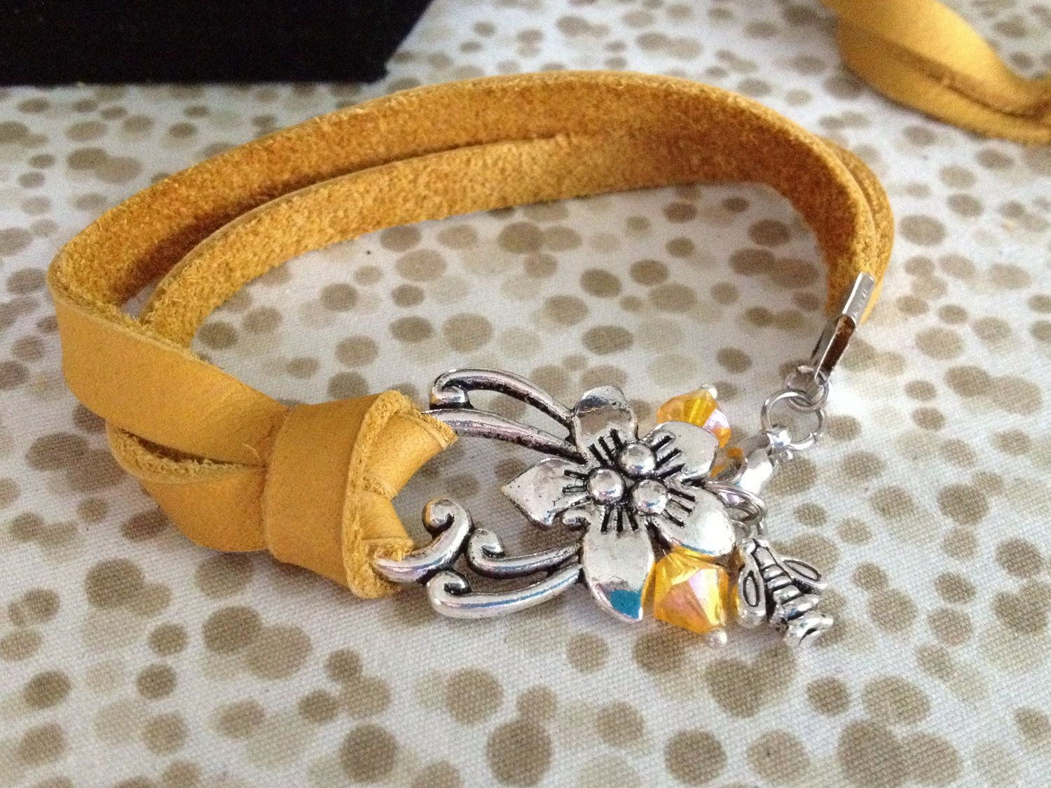 Yellow leather bracelet Hibiscus by TheRabbitsNook on Etsy