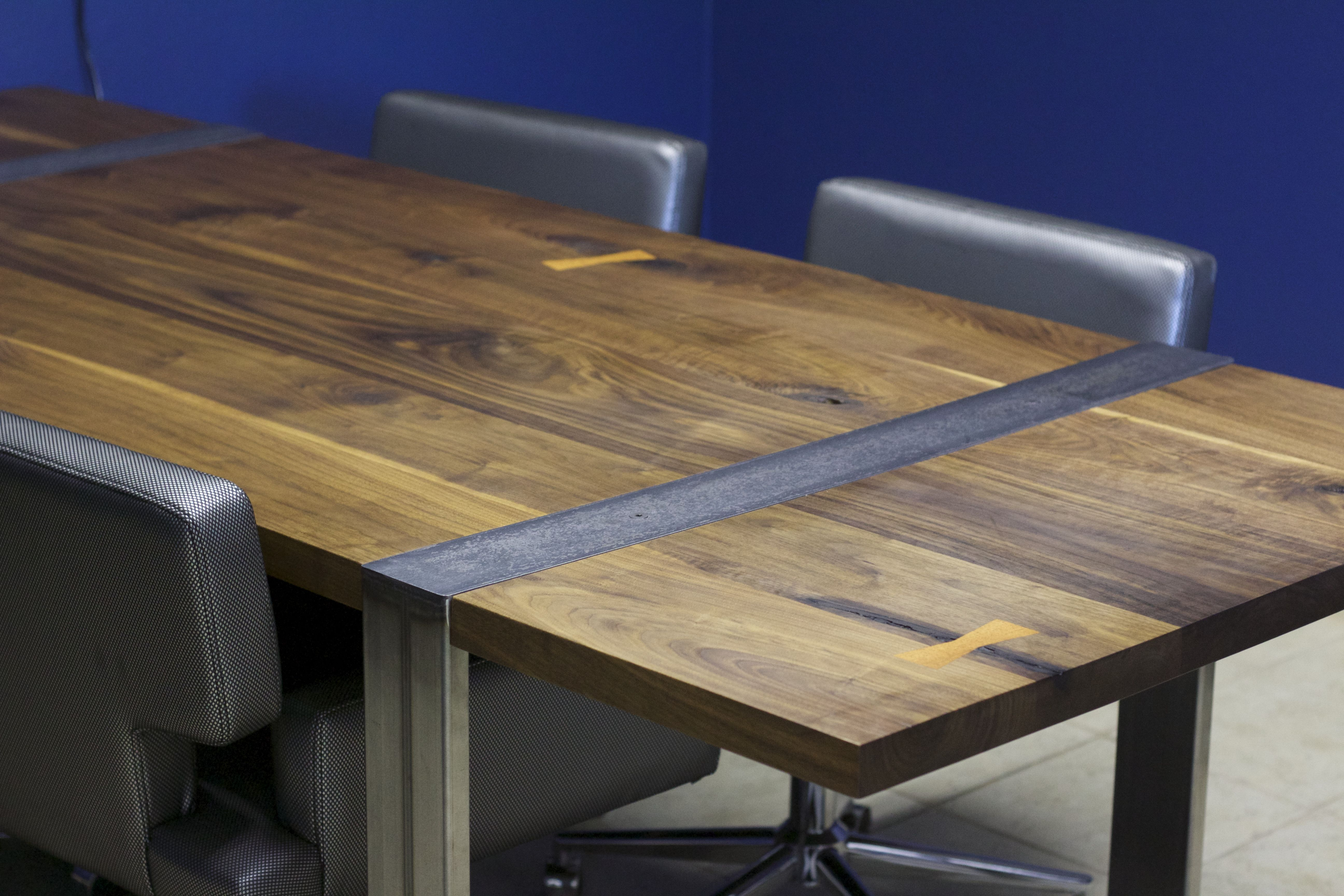 Solid Walnut Modern Industrial Conference Table Made By The Filmont - Modern industrial conference table