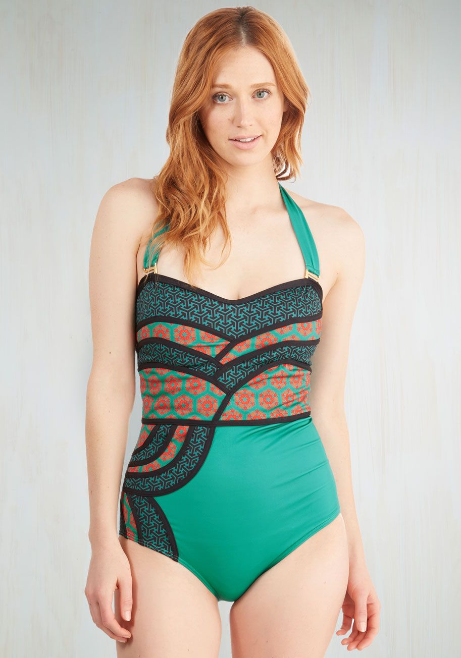 9772b46d98c Set the Serene One-Piece Swimsuit in Emerald. A lagoon is the perfect cool-off  spot, so today youre lounging on the shore in this emerald-green one piece!