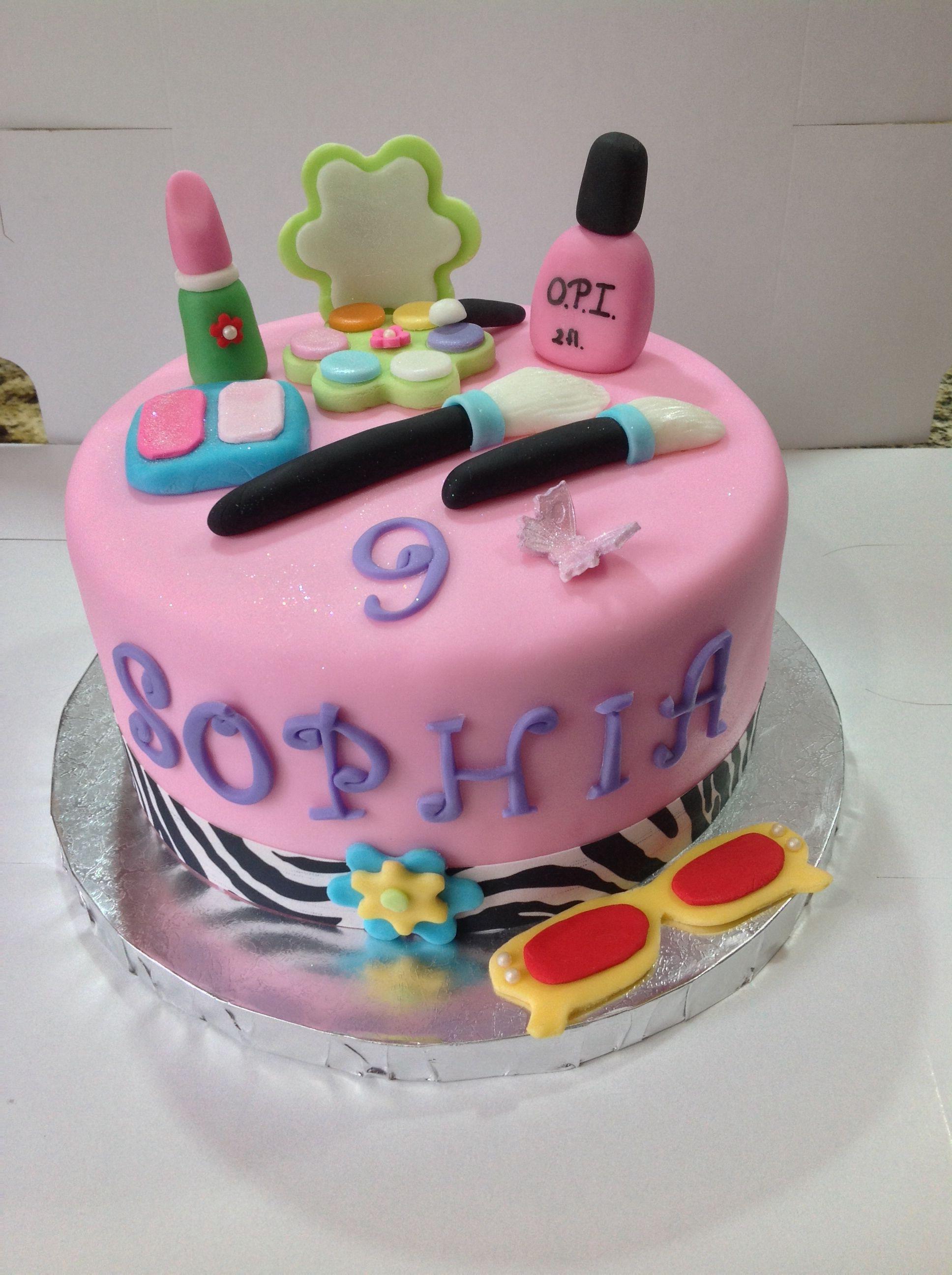 Tremendous Little Girls Make Up Cake With Images Make Up Cake Kids Cake Personalised Birthday Cards Paralily Jamesorg