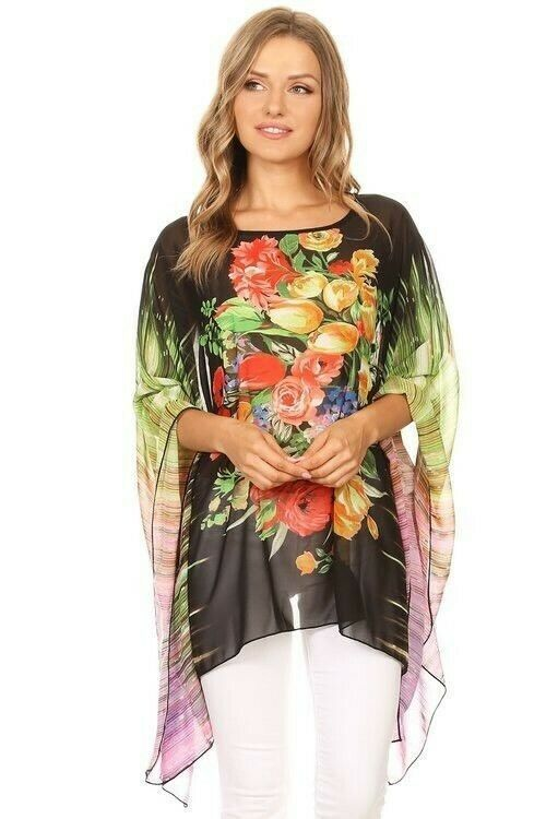 261f76ee46a 2019 的 #Cardigan #fasion #flower print #Sheer #Chiffon # Cover Up #Beach  #Blouse | Floral Print Kimono Cardigan Blouse 主题 | Kimono swim cover up、 Chiffon ...
