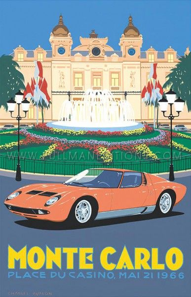 Lamborghini Miura Monte Carlo Casino Square Art Deco On Paper