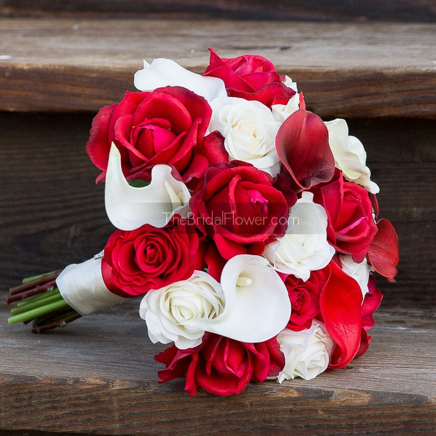 Red and cream real touch bouquet with deep red by