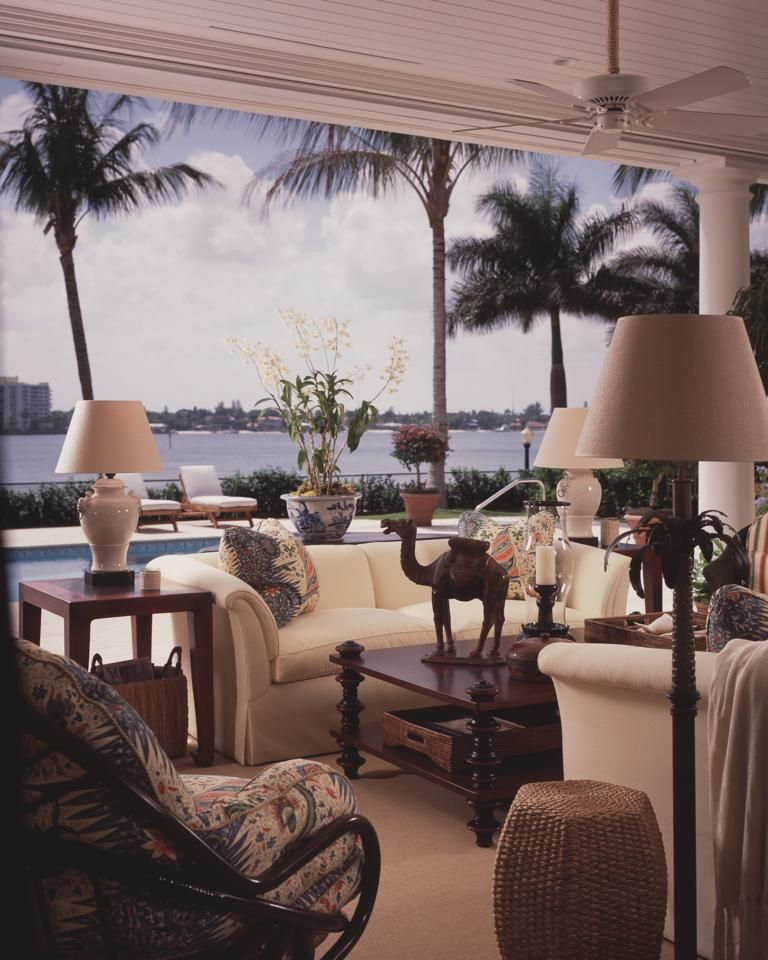 Scott Snyder Inc Waterfront Palm Beach Fl Home Project British Colonial Style British Colonial Decor Outdoor Living Rooms