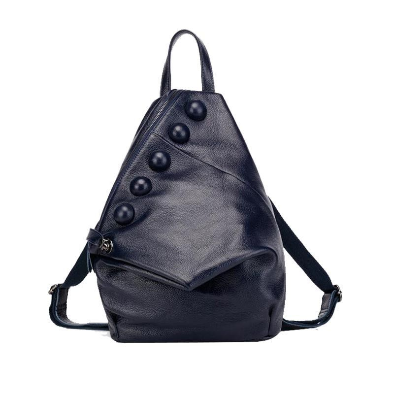 New Fashion Women Backpack Button Decoration Genuine Leather Shoulder Bag Natural Leather Cowhide Mochila For Girls