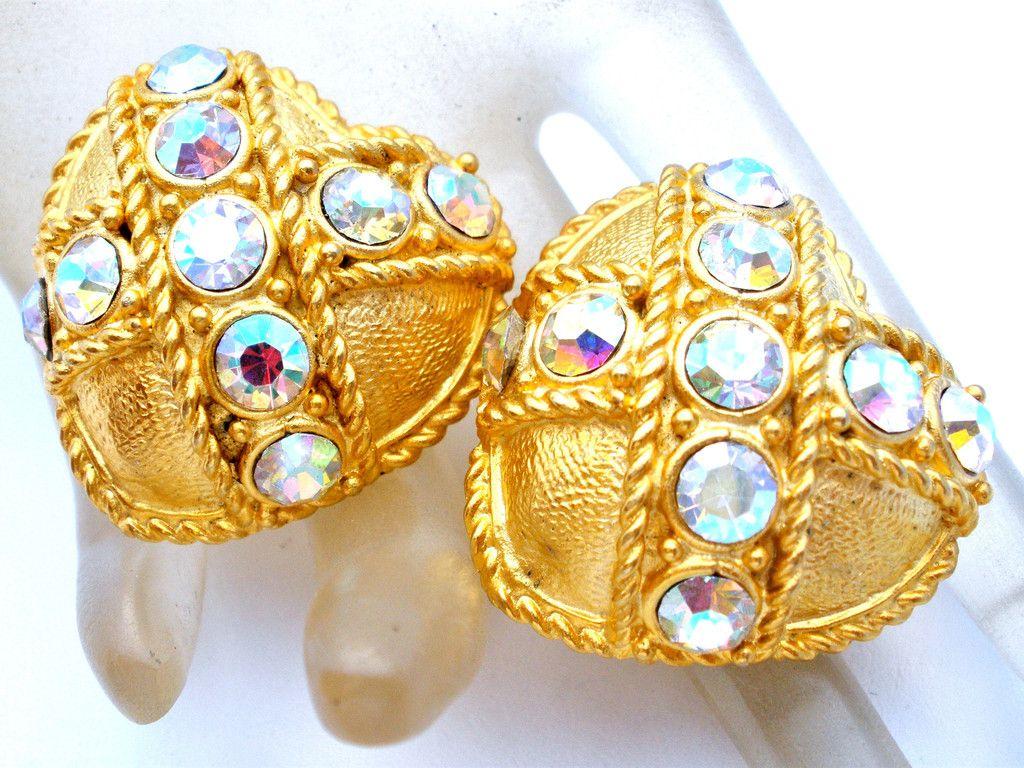 Large Vintage Heart Earrings Aurora Borealis Rhinestones
