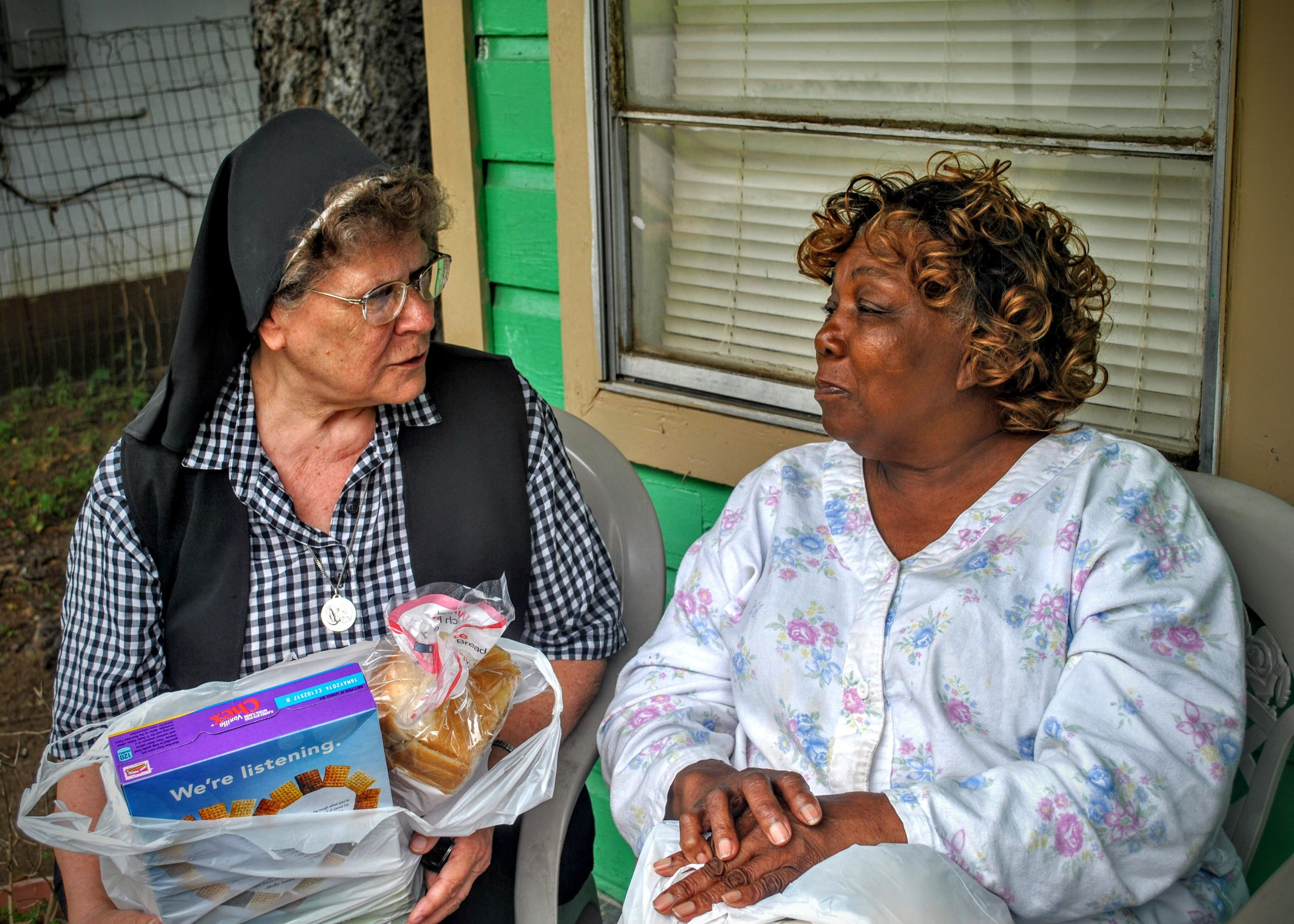 Through A Food Bank Program And Low Income Elderly Housing Sister