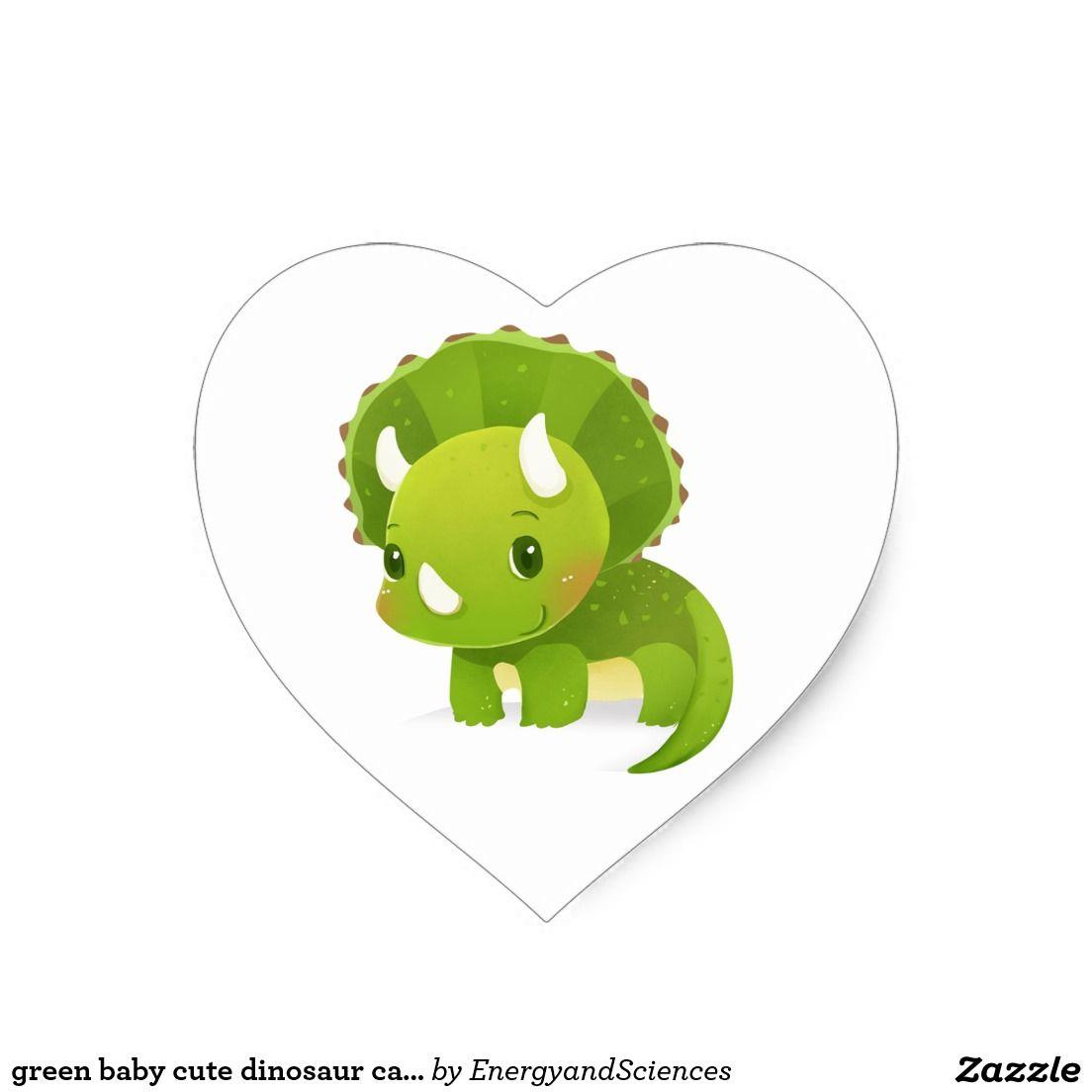 Green baby cute dinosaur cartoon heart sticker