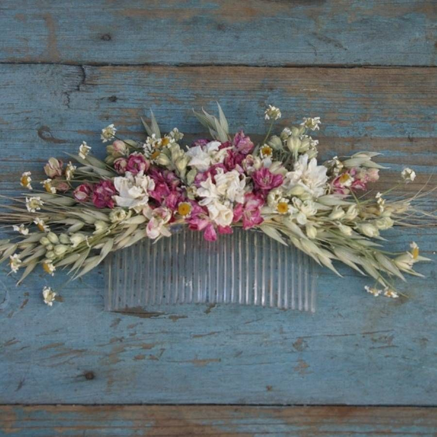 Country Dried Flower Hair Comb Flower Crowns Pinterest Flower
