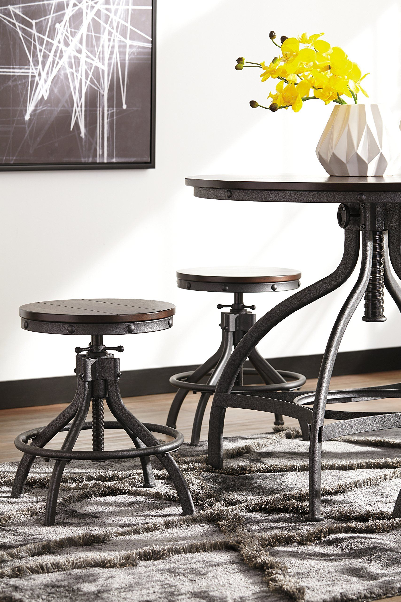 ashley odium collection d284223 5piece bar table set with adjustable