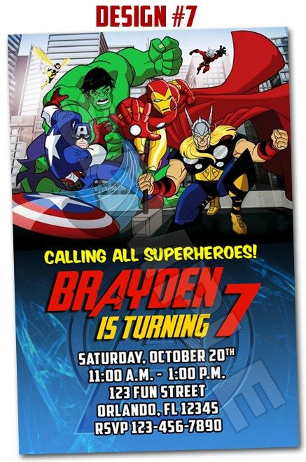 avengers assemble superhero birthday party photo invitations - Superhero Birthday Party Invitations