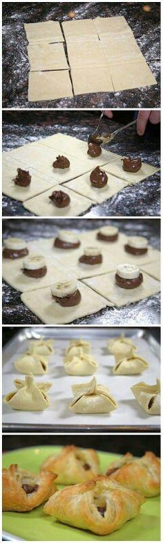 Comida para fiesta , ricos y deliciosos bollitos de nutella y platano