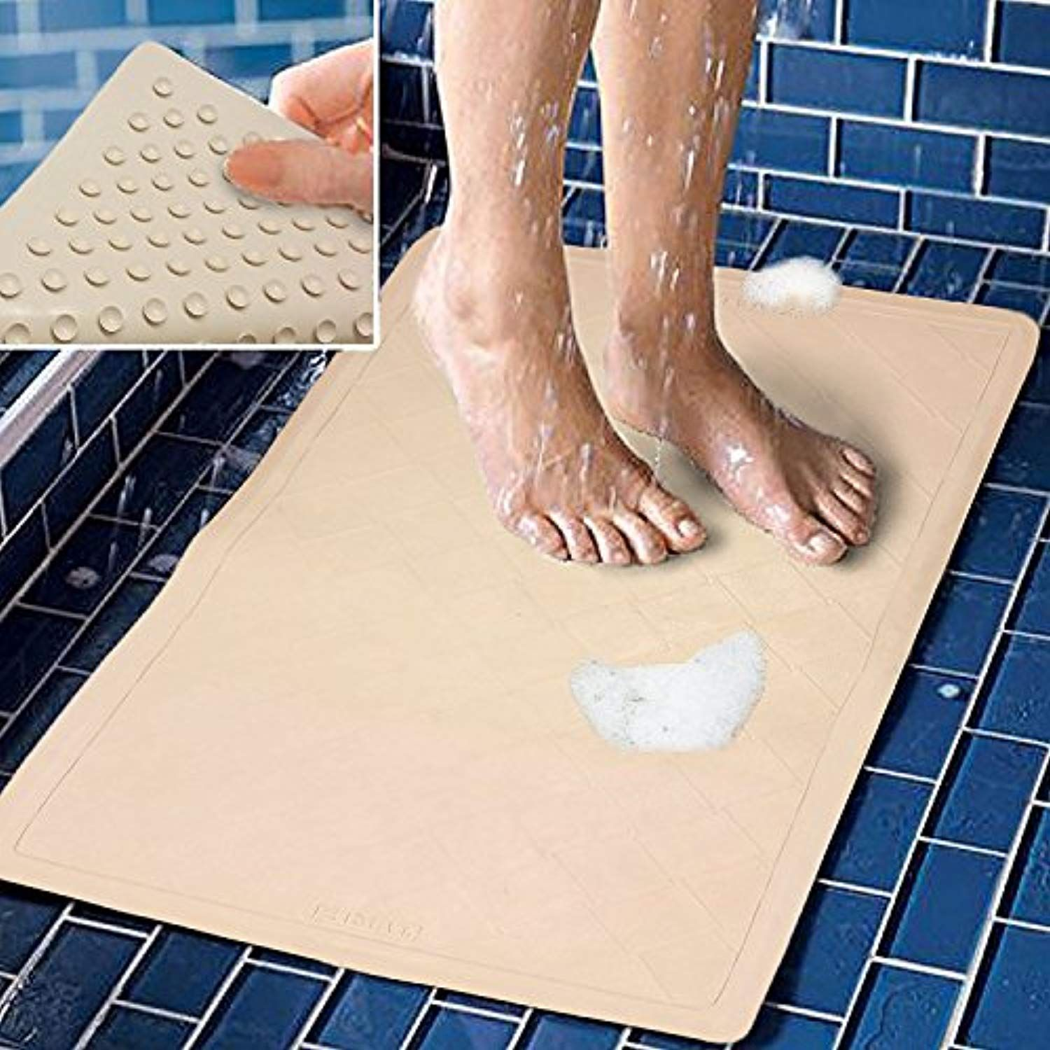 Bath Mat Non Slip Rubber With Super Strong Suction Cups Stays In