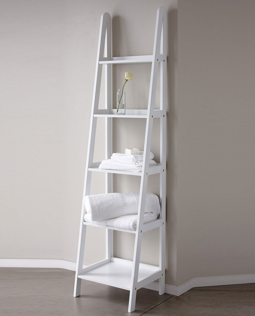 Ladder shelving for cook nook extra serving dishes cook books etc