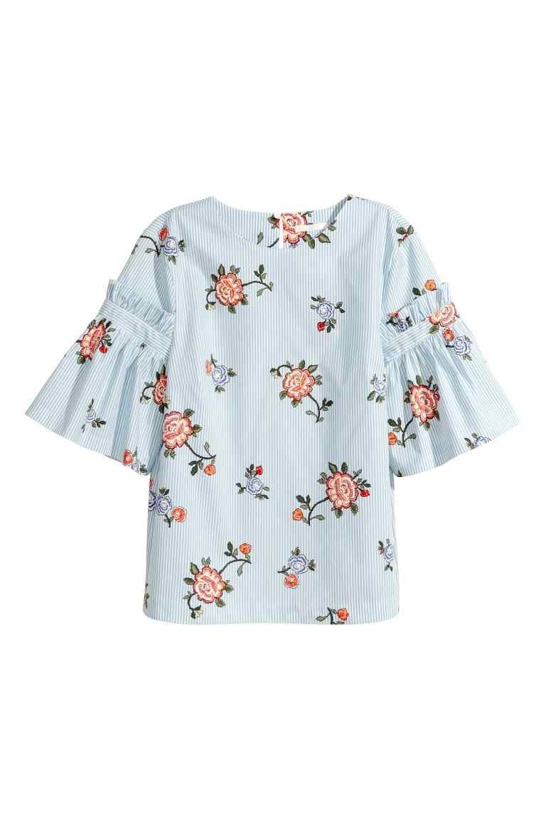 Bluzka Z Falbankowym Rekawem Jasnoniebieski Kwiaty Ona H M Pl Stretch Cotton Fabric Clothes Clothes Design