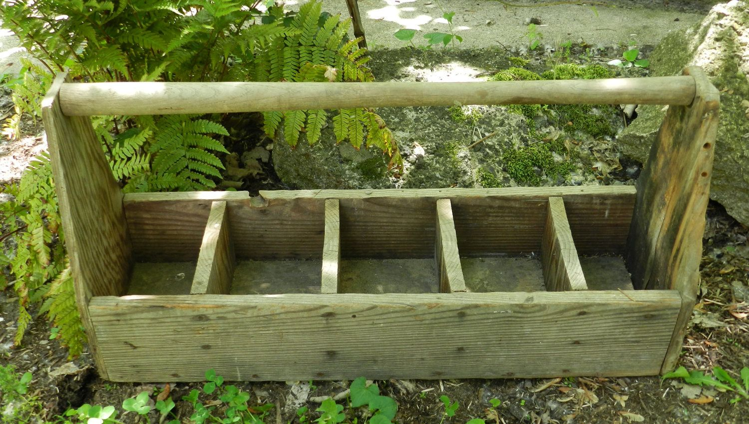 Large Vintage Wooden Compartment Tool Box Flower Box Planter