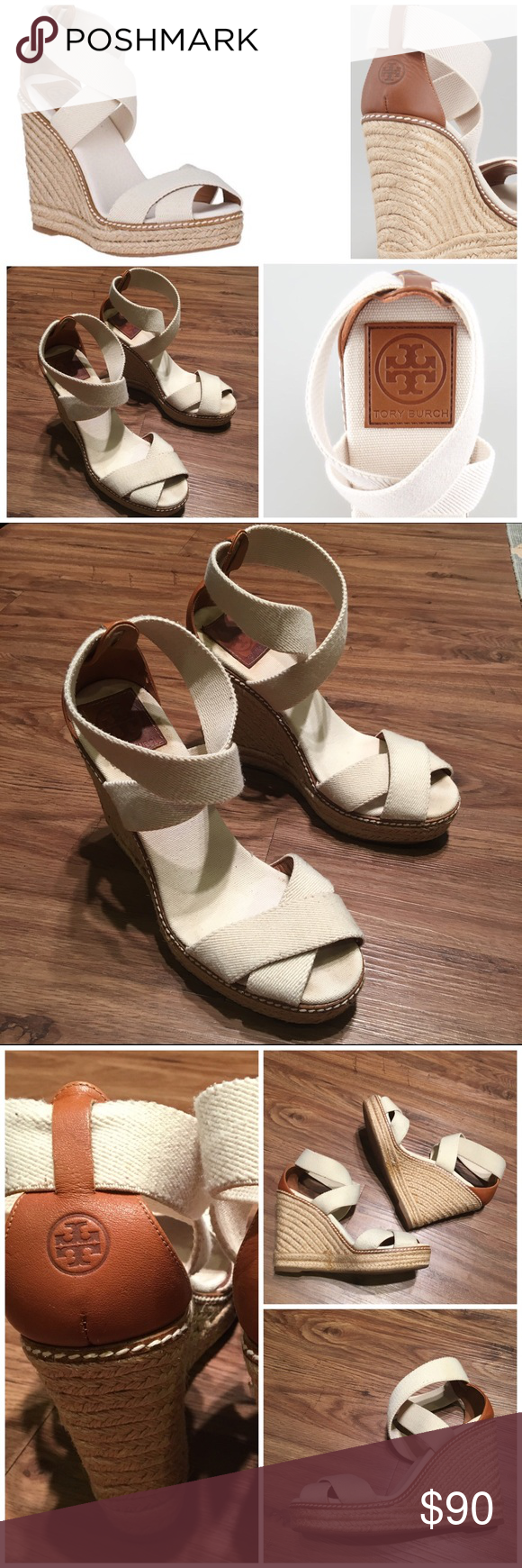 23effe32e23 Tory Burch Adonis Stretch Espadrille Wedge, ivory Gently worn and in ...